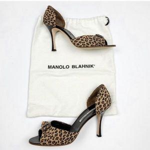 Manolo Blahnik Suede D'Orsay Pumps leopard size 10
